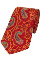 Soprano Large Edwardian Paisley on Red and Orange Ground Silk Tie