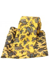 Soprano Large Paisley On Gold Ground Silk Tie and Pocket Square