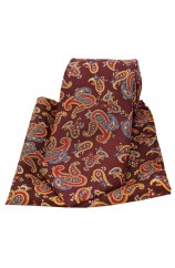 Soprano Large Paisley On Wine Ground Silk Tie and Pocket Square