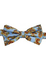 Soprano Light Blue Printed Silk Edwardian Paisley Bow Tie