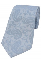 Soprano Light Duck Egg Blue Paisley Silk Tie
