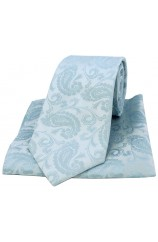 Soprano Light Duck Egg Blue Paisley Silk Tie and Pocket Square