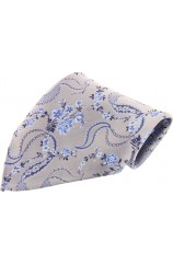 Soprano Light Grey Floral Patterned Mens Silk Pocket Square