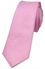 Soprano Light Pink and White Pin Dot Thin Silk Tie