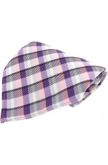 Soprano Lilac and Pink Check Mens Silk Pocket Square