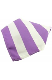 Soprano Lilac And White Striped Polyester Pocket Square