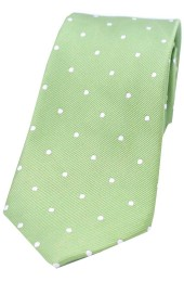 Soprano Lime Green and White Polka Dot Silk Tie