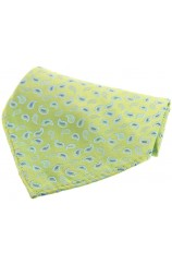 Soprano Lime Green With Small Paisley Design Silk Pocket Square