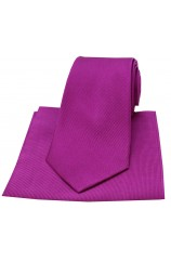 Soprano Magenta Diagonal Twill Woven Silk Tie and Pocket Square