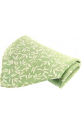 Soprano Mint Leaf Patterned Mens Silk Pocket Square