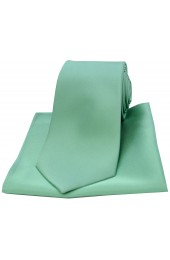 Soprano Mint Matching Satin Silk Tie and Pocket Square