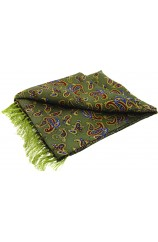 Soprano Morris Paisley On A Country Green Ground Silk Aviator Scarf
