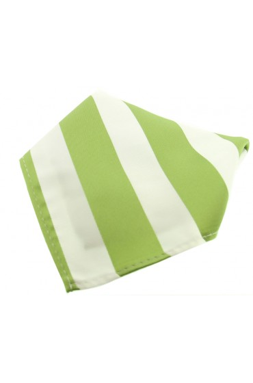 Soprano Moss Green And White Striped Polyester Pocket Square