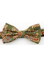 Soprano Moss Green Luxury Printed Silk Edwardian Paisley Bow Tie