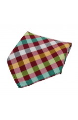 Soprano Multicoloured Checks on Red Ground Silk Pocket Square