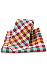 Soprano Multicoloured Checks on Red Silk Tie and Pocket Square