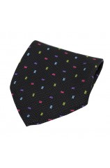Soprano Multicoloured Small Rectangle Pattern on Black Ground Silk Pocket Square