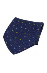Soprano Multicoloured Small Rectangle Pattern on Navy Ground Silk Pocket Square