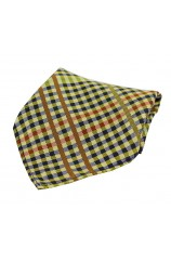 Soprano Multicoloured Tartan Pattern on Gold Ground Hankie