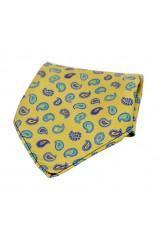 Soprano Multicoloured Teardrop Paisley on Gold Ground Silk Pocket Square