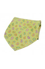 Soprano Multicoloured Teardrop Paisley on Lime Green Ground Silk Pocket Square