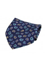 Soprano Multicoloured Teardrop Paisley on Navy Ground Silk Pocket Square