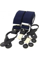 Soprano Navy 35mm Leather End Braces