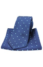 Soprano Navy and Light Blue Polka Dot Silk Tie and Pocket Square