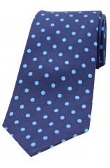Soprano Navy and Light Blue Polka Dots Mens Printed Silk Tie