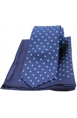 Soprano Navy and Light Blue Polka Dots Mens Printed Silk Tie and Pocket Square