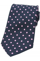Soprano Navy and Pink Polka Dots Mens Printed Silk Tie
