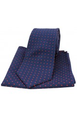Soprano Navy and Red Pin Dot Woven Silk Tie and Pocket Square