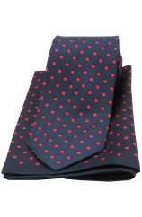 Soprano Navy and Red Polka Dot Matching Silk Tie and Pocket Square