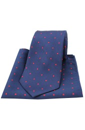 Soprano Navy and Red Polka Dot Silk Tie and Pocket Square