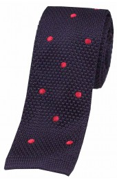 Soprano Navy and Red Polka Dot Thin Knitted Polyester Tie