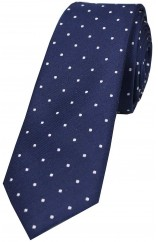Soprano Navy and White Pin Dot Thin Silk Tie