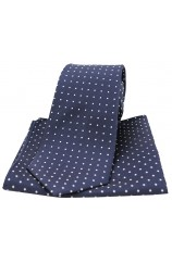 Soprano Navy and White Pin Dot Woven Silk Tie and Pocket Square