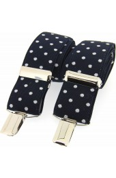 Soprano Navy and White Polka Dot 35mm X Style Braces