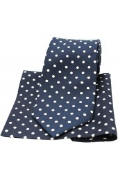 Soprano Navy and White Polka Dot Matching Silk Tie and Pocket Square