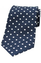 Soprano Navy and White Polka Dots Mens Printed Silk Tie