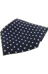 Soprano Dark Navy and White Polka Dots Mens Silk Pocket Square