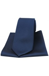 Soprano Navy Diagonal Ribbed Plain Silk Tie and Pocket Square