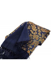 Soprano Navy Edwardian Paisley Silk with Wool backing Scarf