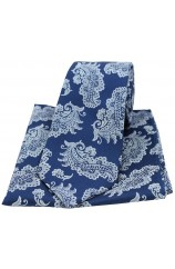 Soprano Navy Floral Woven Silk Tie and Pocket Square