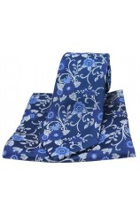 Soprano Navy Flowers Silk Tie and Pocket Square