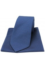 Soprano Navy Plain Box Weave Woven Silk Tie and Pocket Square