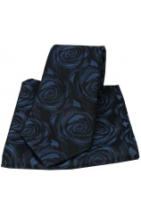 Soprano Navy Rose Wedding Silk Tie and Pocket Square