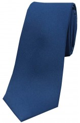 Soprano Navy Satin Silk Thin Tie