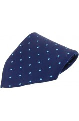 Soprano Navy With Blue Spots Silk Pocket Square