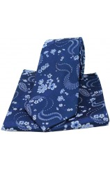 Soprano Navy With Floral Pattern Mens Silk Tie and Pocket Square